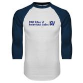 White/Navy Raglan Baseball T Shirt-CUNY SPS Two Line