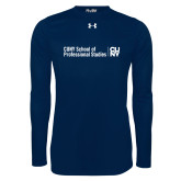 Under Armour Navy Long Sleeve Tech Tee-CUNY SPS Two Line