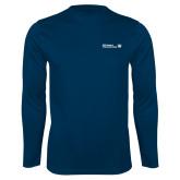 Performance Navy Longsleeve Shirt-CUNY SPS Two Line