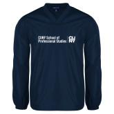V Neck Navy Raglan Windshirt-CUNY SPS Two Line