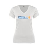 CUNY School of Prof Studies Next Level Ladies Junior Fit Ideal V White Tee-