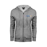 CUNY School of Prof Studies ENZA Ladies Grey Fleece Full Zip Hoodie-