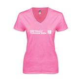CUNY School of Prof Studies Next Level Ladies Junior Fit Ideal V Pink Tee-
