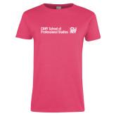 Ladies Fuchsia T Shirt-CUNY SPS Two Line