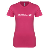 Next Level Ladies SoftStyle Junior Fitted Fuchsia Tee-CUNY SPS Two Line