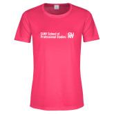 Ladies Performance Hot Pink Tee-CUNY SPS Two Line