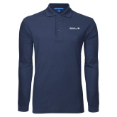Navy Long Sleeve Polo-CUNY SPS Two Line