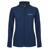 Ladies Fleece Full Zip Navy Jacket-CUNY SPS Two Line