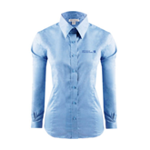 CUNY School of Prof Studies Ladies Red House Light Blue Long Sleeve Shirt-