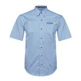 CUNY School of Prof Studies Light Blue Twill Button Down Short Sleeve-