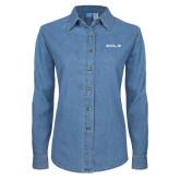 Ladies Denim Long Sleeve Shirt-CUNY SPS Two Line