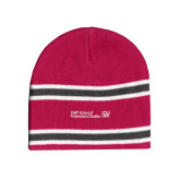 Pink/Charcoal/White Striped Knit Beanie-CUNY SPS Two Line