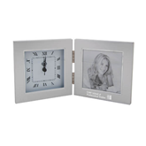 Silver Two Tone Photo Frame w/Clock-Engraved