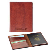 Fabrizio Brown RFID Passport Holder-CUNY SPS Two Line Engraved