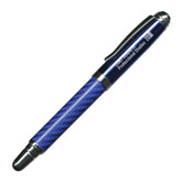 Carbon Fiber Blue Rollerball Pen-Engraved