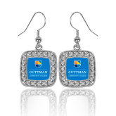 Crystal Studded Square Pendant Silver Dangle Earrings-Guttman Community College w/ Shield
