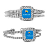 Crystal Studded Cable Cuff Bracelet With Square Pendant-Guttman Community College w/ Shield