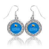 Crystal Studded Round Pendant Silver Dangle Earrings-Guttman Community College w/ Shield