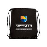 Nylon Black Drawstring Backpack-Guttman Community College w/ Shield