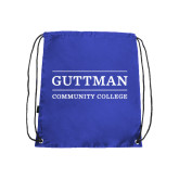 Community College Royal Drawstring Backpack-Guttman Community College Word Mark