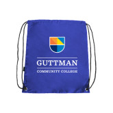 Community College Royal Drawstring Backpack-Guttman Community College w/ Shield