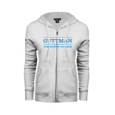 ENZA Ladies White Fleece Full Zip Hoodie-Guttman Community College Word Mark