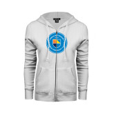 ENZA Ladies White Fleece Full Zip Hoodie-Circle Logo