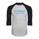 White/Black Raglan Baseball T-Shirt-Guttman Community College Word Mark