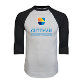 White/Black Raglan Baseball T-Shirt-Guttman Community College w/ Shield