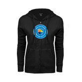 ENZA Ladies Black Fleece Full Zip Hoodie-Circle Logo
