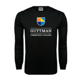 Black Long Sleeve TShirt-Guttman Community College w/ Shield