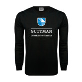 Black Long Sleeve TShirt-Guttman Community College Striped Shield