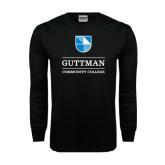 Black Long Sleeve TShirt-Guttman Community College Striped Shield