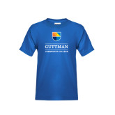 Youth Royal T Shirt-Guttman Community College w/ Shield