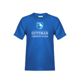 Community College Youth Royal T Shirt-Guttman Community College Striped Shield