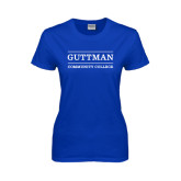 Community College Ladies Royal T Shirt-Guttman Community College Word Mark