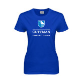 Ladies Royal T Shirt-Guttman Community College Striped Shield