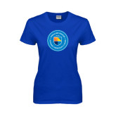 Community College Ladies Royal T Shirt-Circle Logo