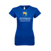 Next Level Ladies SoftStyle Junior Fitted Royal Tee-Guttman Community College w/ Shield