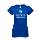 Next Level Ladies SoftStyle Junior Fitted Royal Tee-Guttman Community College Striped Shield