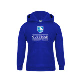 Community College Youth Royal Fleece Hoodie-Guttman Community College Striped Shield