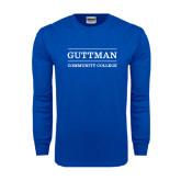 Royal Long Sleeve T Shirt-Guttman Community College Word Mark