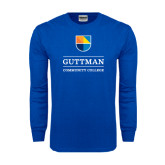 Royal Long Sleeve T Shirt-Guttman Community College w/ Shield