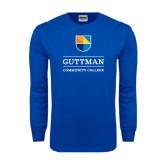 Royal Long Sleeve T Shirt-Guttman Community College w/ Shield