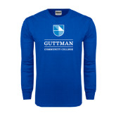 Royal Long Sleeve T Shirt-Guttman Community College Striped Shield