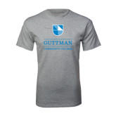 Grey T Shirt-Guttman Community College Striped Shield