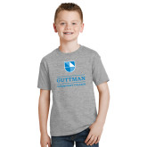 Youth Grey T-Shirt-Guttman Community College Striped Shield
