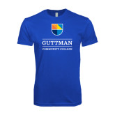 Next Level SoftStyle Royal T Shirt-Guttman Community College w/ Shield