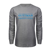 Grey Long Sleeve T Shirt-Guttman Community College Word Mark