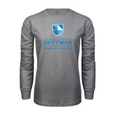 Grey Long Sleeve T Shirt-Guttman Community College Striped Shield